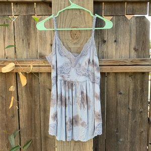 Free People Tie Dye Blouse with lace detail